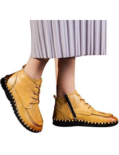 Zoulee Dames Ronde Neus Lederen Kanten Schoenen In Hoogte Toenemende Wiggen Schoenen Geel