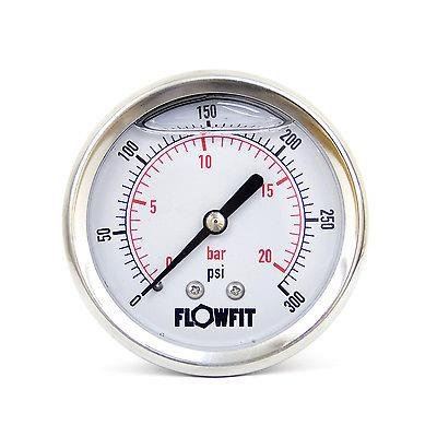 63mm Glycerine Filled Hydraulic pressure gauge 0-300 PSI (21 BAR) 1/4' bsp rear entry Flowfit