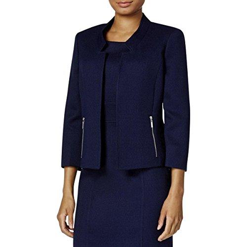 Kasper Women's Petite Size Mandarin Collar Textured Flyaway Jacket, Bright Navy, 2P by Kasper