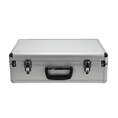 Aluminum Hard Case - SRA Cases Aluminum Hard Case with Foam Insert, Silver, 18.1 x 13 x 6 Inches