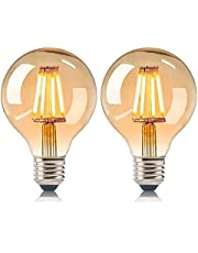 Gujin Edison gloeilamp, E27, G80, 4 W, gloeilamp globe lamp, vintage, amberglas, ideaal voor nostalgie en retro verlichting decoratie