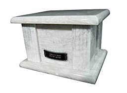 Star Legacy\'s Classic White Large Marble Adult Funeral Cremation Urn for Human Ashes