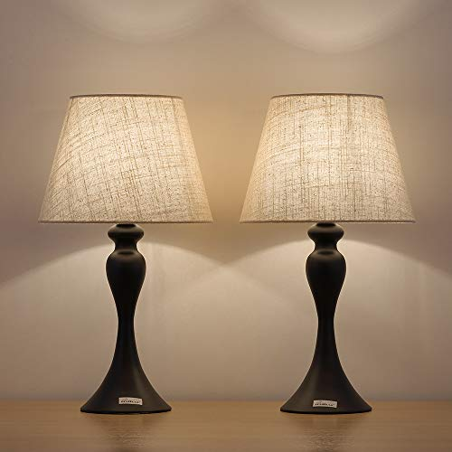 Haitral Black Small Table Lamps Set Of 2 Retro Bedside