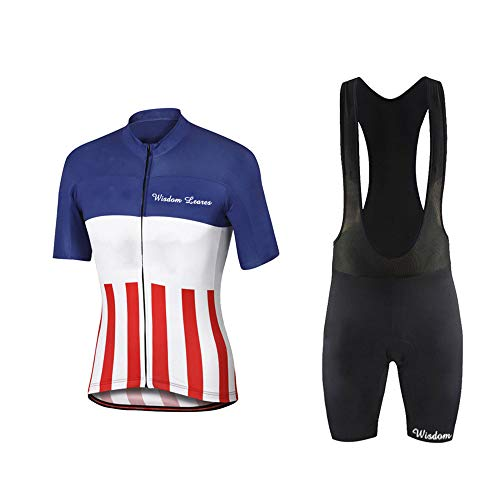 Men's Short Sleeves Cycling Jersey Set Bike Shirt with 3D Gel Padded Shorts MTB Road Bike Cycling Clothing Set Blue White