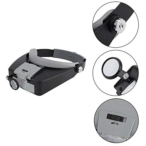 - Jewelers Head Headband Magnifier Magnifying Glasses Loupe 2 LED Light Lamp Visor