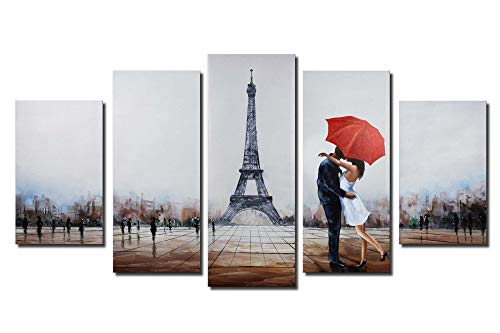 ARTLAND Hand Painted Paris Eiffel Tower Comtenporary Wall Art 28x50-inches Black White and Red Umbrella Couple in Street Romantic Oil Panting for Wall Decor