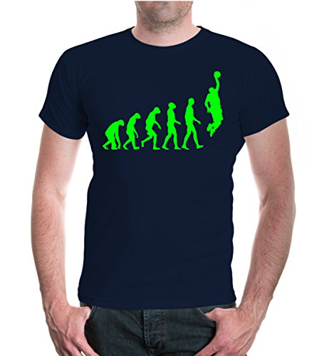 buXsbaum T-Shirt The Evolution of basketball-XL-Navy-Neongre