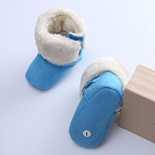 Tefamore botas zapatos bebes zapatilla de deporte de primeros pasos de antideslizante de solo suave de moda invierno de calentar Cielo azul