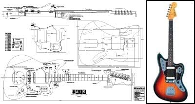 Plan de Fender Jaguar guitarra eléctrica–escala completa impresión