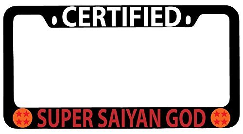 Certified Super Saiyan God Black Metal License Plate Frame Dragon Ball