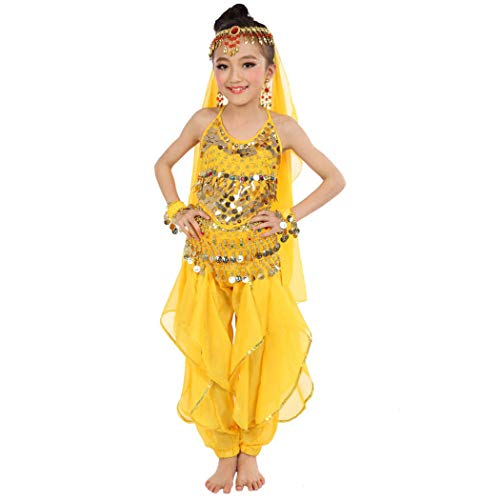 Maylong Girls Loose Pants Belly Dance Outfit Halloween Costume DW07(Small, Yellow)]()