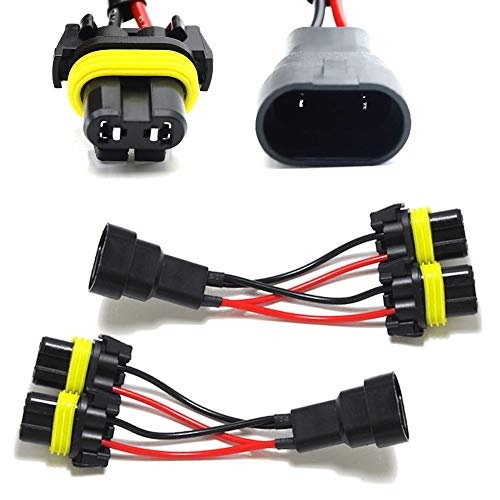 iJDMTOY Pair 9005/9006 2-Way Splitter Wires For Headlight/High Beam Quad/Dual Projectors or Headlight/Fog Light Co-Operate Retrofit ()