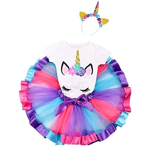 Little Girls Summer Short Sleeve Unicorn T-Shirt Colorful Tutu Skirt Flower Horn Headband 3PCS Set Birthday Princess Pageant Fancy Dress up Hot Pink & Purple 4-5 Years
