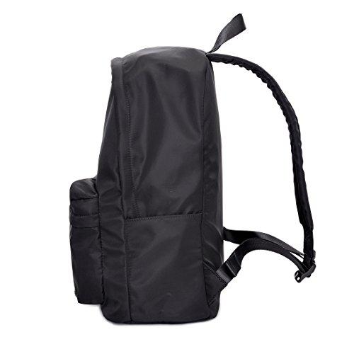 Hombre Piel bolsillo en el pecho Pecho Bolsa Mochila Sport Trekking Bolsa, negro negro