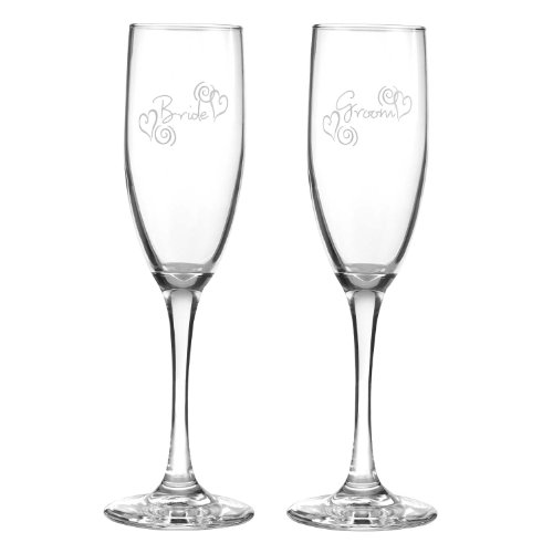 Hortense B. Hewitt Wedding Accessories Swirl Heart Bride and Groom Champagne Toasting Flutes, Set of 2