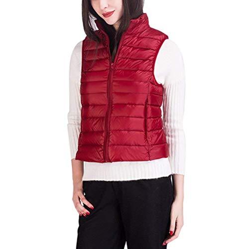 Femme Gilet Hiver sans Manches Gilet en Duvet Fille Uni Manche avec Fermeture clair Poches Avant Haute Cou Manteau Chaud Branch Vtements D'Extrieur Rouge
