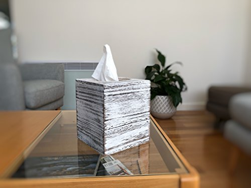 C60 COOPER White Weathered Wood Style Tissue Box Cover Square, Tissue Box Cover, Tissue Box Cover Holder - Paulownia Wood by C60 COOPER (Image #4)