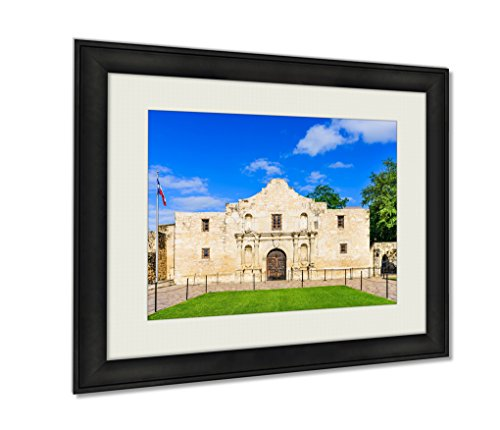 Ashley Framed Prints The Alamo In San Antonio Texas Usa Wall Art Decor Giclee Photo Print In Black Wood Frame, Soft White Matte, Ready to hang 16x20 - In Antonio Pictures Texas Alamo Of San The
