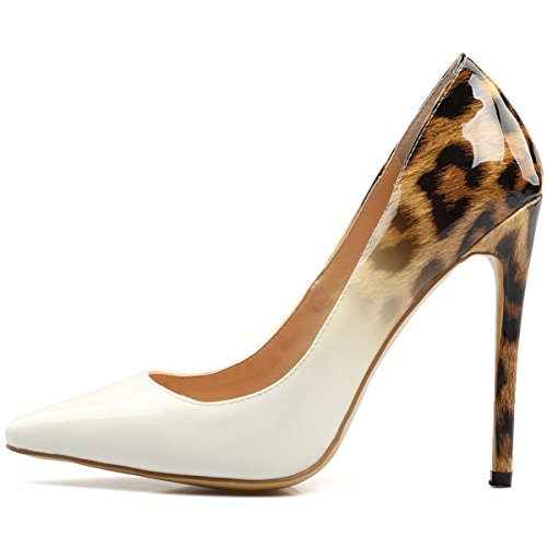 Women's Pointy Stiletto Party Pumps Dress Leopardwhite Platform High Heels Wedding Shoes toe AIWEIYi dq16td