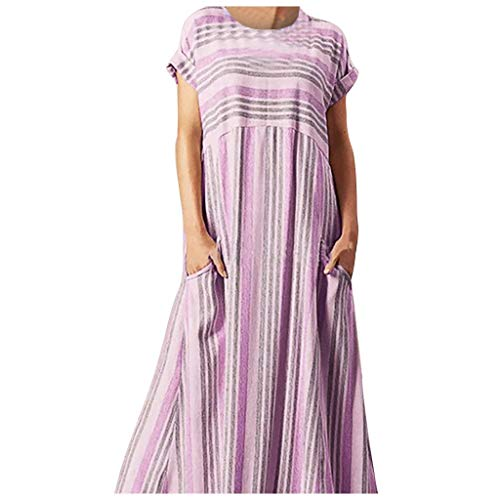 - Women Shift Striped Dress - Ladies Loose Plus Size Cap Sleeve Empire Waist A Line Maxi Dresses - Casual Comfy Indoor Outdoor Nightgowns with Pocket (XXXL, Red)