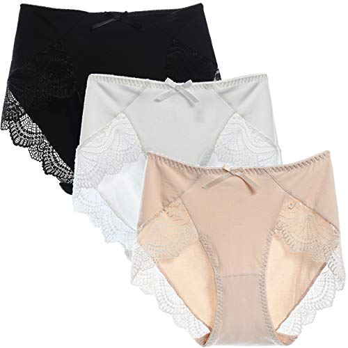 LEVAO Women's French Cut Cotton Underwear Hi Cut Panty Briefs 3 Pack, Supersoft