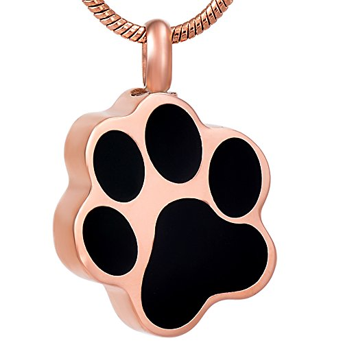constantlife Cremation Necklace for Ashes Dog/Cat/Pet Paw Cremation Keepsakes Jewelry Pet Urn Pendant Necklace Cremation Ashes Keepsake Holder Stainless Steel Pet Paw Ash Necklace Urn Jewelry