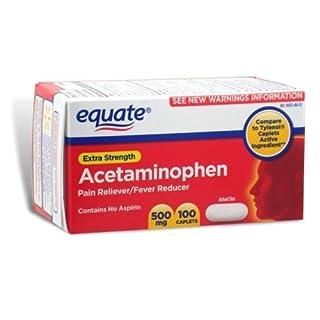 Equate - Pain Reliever Extra Strength, Fever Reducer, Acetaminophen 100 Caplets (Compare to Tylenol)