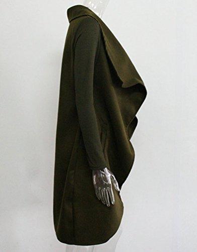 Lunghe Irregolare Aperto Esercito Autunno Verde Davanti Trench Sentao Donna Giacca Cappotto Jacket A Blazer Cardigan Maniche t0w8nA
