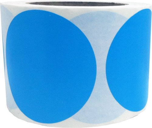 "Light Blue Color Coding Dot Labels 3"" Inch Round - 500 Colored Circle Inventory Stickers Per Roll"