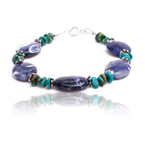$80 Retail Tag Silver Authentic Navajo Native American Natural Turquoise and Lapis Link Bracelet (Lapis Bracelet Turquoise)