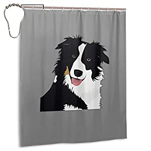 "Perfect Appearance Border Collie Shower Curtain 7-12 Grommet Holes Waterproof Thick Bathroom Plastic Shower Curtains 48"""" W X 72"""" H No Chemical Odor Rust Proof Grommets 2"