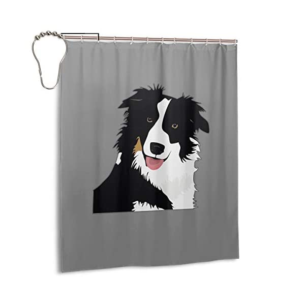 """Perfect Appearance Border Collie Shower Curtain 7-12 Grommet Holes Waterproof Thick Bathroom Plastic Shower Curtains 48"""""""" W X 72"""""""" H No Chemical Odor Rust Proof Grommets 1"""
