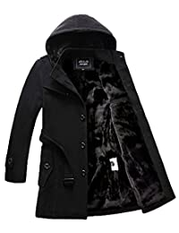 Liveinu Men's Winter Wool Blend Pea Coat Hood Jacket