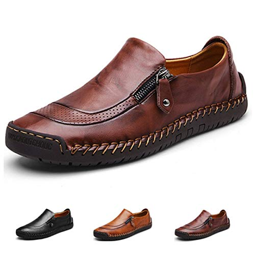gracosy Slip-On Shoe,Men's Leather Hand Stitching Zipper Non-Slip Casual Walking Sneaker Loafer Boat Shoe Dark Brown 10 M US ()