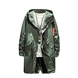 Men's Fine Cotton Windproof Hood Fall Winter Front-Zip Trench Coat Cardigan
