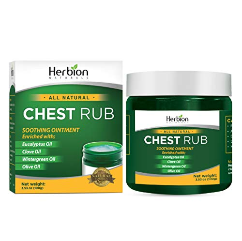 Herbion Naturals Chest Rub, 3.53 oz - Natural Ointment with soothing vapors which gently comfort adults & children. Olive oil, Eucalyptus oil, Clove oil, Wintergreen oil, Beeswax & Vitamin E. (3.53 Ounce Cream)
