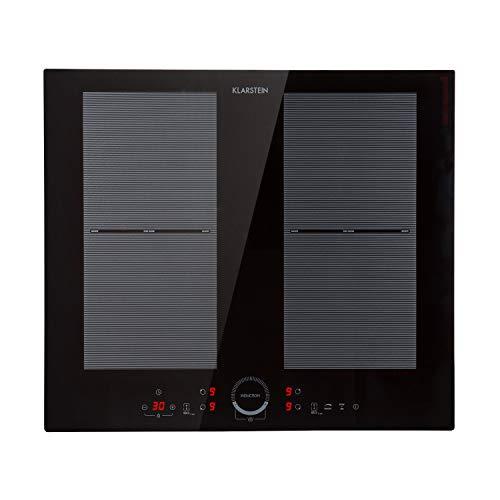 Klarstein Delicatessa 60 Placa de cocina - Placa de inducción, Fogón para empotrar, 4 zonas, 7000 W, Panel táctil, Flexzone, Sensor de sartenes, ...
