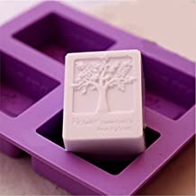 Echodo 4 Cavities Rectangle Life Tree Silicone Soap Mold DIY Craft Art Cake Mold Handmade Silicone Molds For Soap Candle