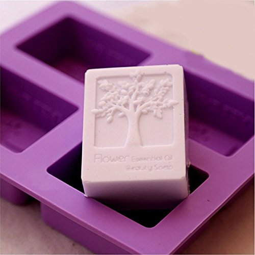 Echodo 4 Cavities Rectangle Life Tree Silicone Soap Mold DIY Craft Art Cake Mold Handmade Silicone Molds For Soap Candle (Silicone Candle Mold Soap)