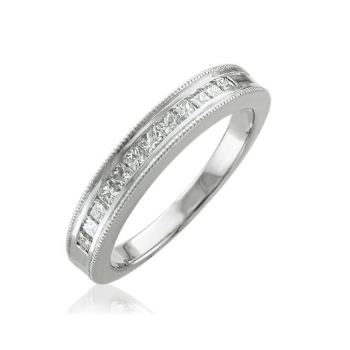 (10K White Gold Princess-Cut Channel Set Wedding/Anniversary Diamond Band Ring (0.50 carat))