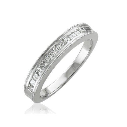 10K White Gold Princess-Cut Channel Set Wedding/Anniversary Diamond Band Ring (0.50 carat)