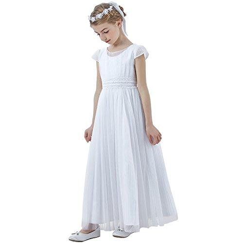 Vestido de comunión blanco columna de tul cuello redondo manga corta hasta el tobillo: Amazon.es: Ropa y accesorios