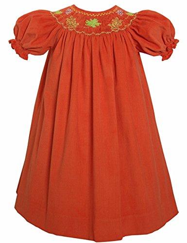 Carouselwear Hand Smocked Fall Leaves Thanksgiving Girls Bishop Dress