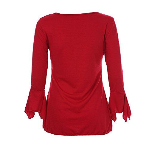 Beikoard Boutons Manche Cou Femme Tee 4 Slim T Fuse Rouge Chemisier Tops Sportswear Les V Chemise Tops Femmes 3 Shirt Top L'Automne r7rx8p