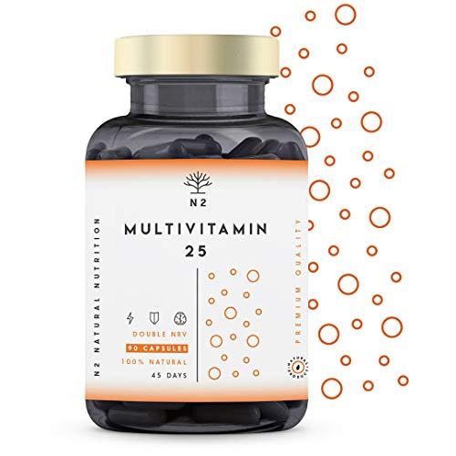 VITAMIN C und D – HOCHDOSIERT 200% von Empfohlenen Tageswert - Multivitamin 25 Vitamin und Mineralien Zink Magnesium Kalzium Vitamin E B6 B12 - Männer & Frauen 90 Kapseln Vegan N2 Natural Nutrition