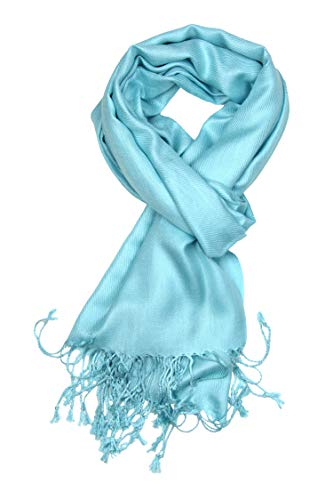 Achillea Large Soft Silky Pashmina Shawl Wrap Scarf in Solid Colors (Light Turquoise)