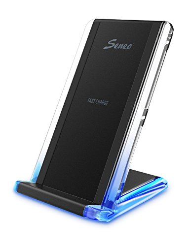Wireless Charger, Seneo 10W Stylish Qi Fast Wireless Charger Stand for Galaxy S9/S9+/8/8+, Note 8/5, S7/S7 Edge/S6 Edge+, Standard Wireless Charging Stand for iPhone X/8/8 Plus (No AC Adapter) by Seneo