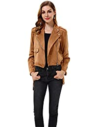 Women's Slim Faux Leather Moto Biker Zipper Short Coat Jacket