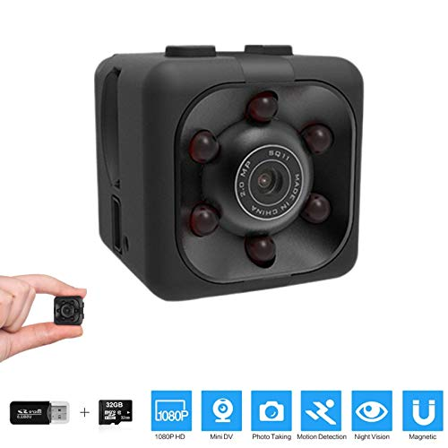 🥇 Mini Spy Camera 1080P Hidden Camera | Portable Small HD Nanny Cam with Night Vision and Motion Detection | Perfect Indoor Covert Security Camera for Home and Office | Hidden Spy Cam | With 32G SD Card