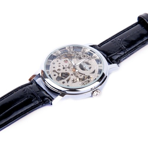 ShoppeWatch Mens Mechanical Skeleton Watch Hand Wind Up Movement Silver Dial Black Leather Strap MW-07